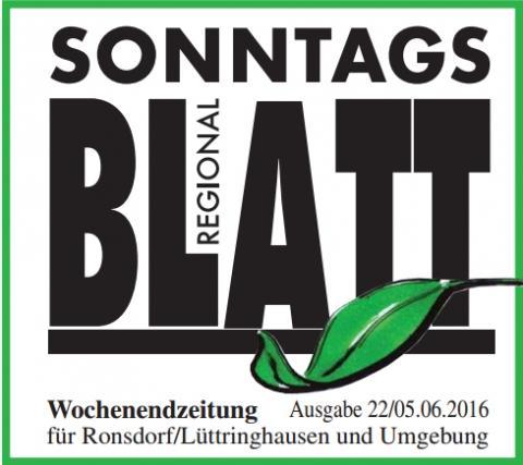 L�tterkusen: Das SonntagsBlatt berichtet in seiner Ausgabe vom 5.6.16 �ber uns.