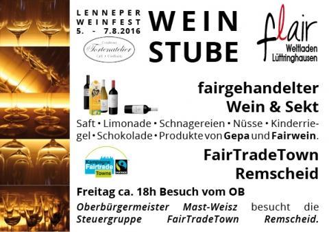 FTT Remscheid: Die Weinstube flair-Weltladen öffnet im König von Preußen (Markt 2) beim Lenneper Weinfest 2016 die Pforten.